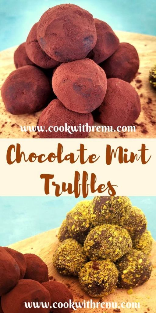 Mint Chocolate Truffles, uses only 5 ingredients and has a rich chocolaty flavour from the dark chocolate and the fresh mint.