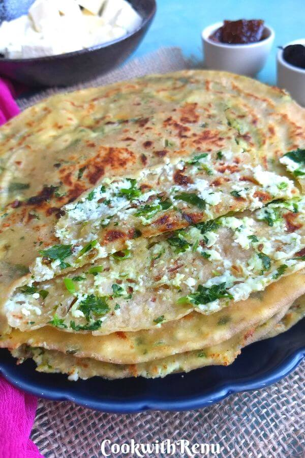 Paneer Paratha is a popular breakfast food made using Paneer, aka Indian cheese. They are a healthy toddler food as well as good for lunch boxes.