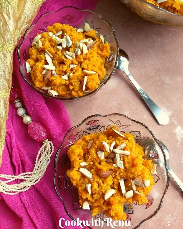No Ghee No Mawa Gajar Halwa is a delicious and traditional Indian sweet or a pudding made using fresh carrots slowly cooked in milk, without ghee or mawa.