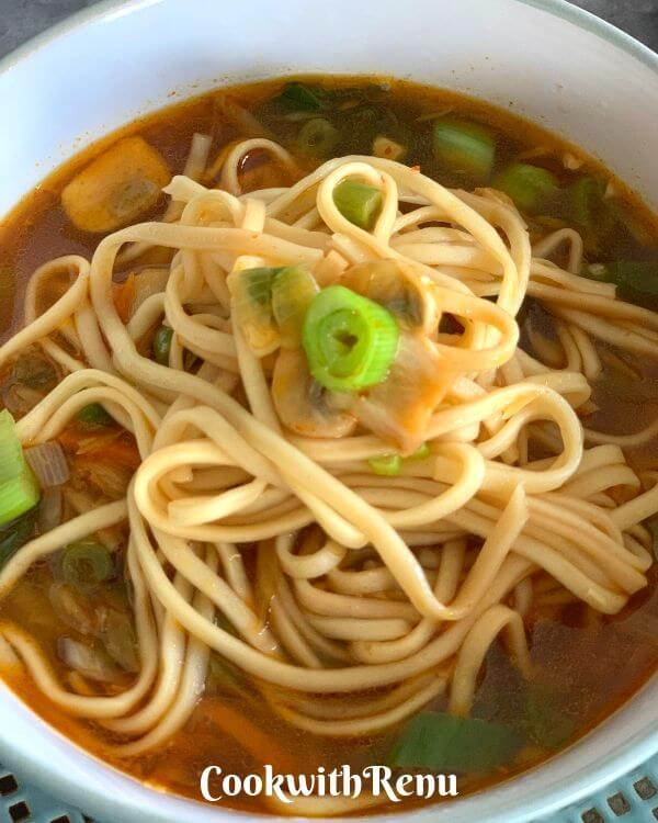 Thukpa the Vegetable Noodle Soup from the State of Sikkim is a hot soup made using vegetables and Noodles and has a distinct taste from a few Indian spices.
