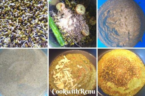 Making of Sprouted Moong Chila