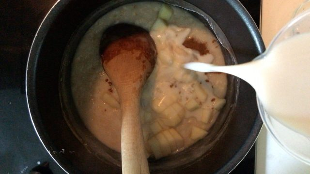 pouring unsweetened almond milk into a pot with rolled oats porridge, grounded cinnamon and diced pear
