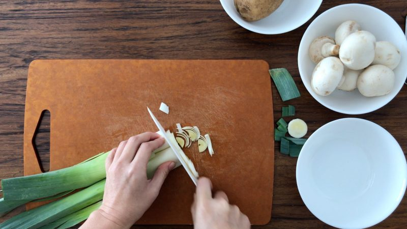 Chopping a leek
