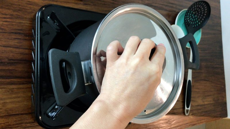 Cover the pot with a metal lid