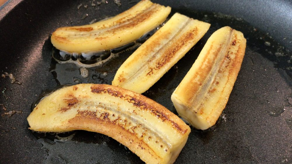 caramelise the bananas on both sides in the pan