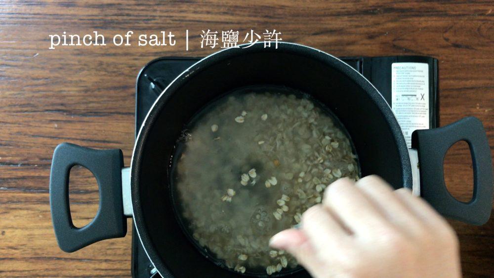 Add a pinch of salt in the pot