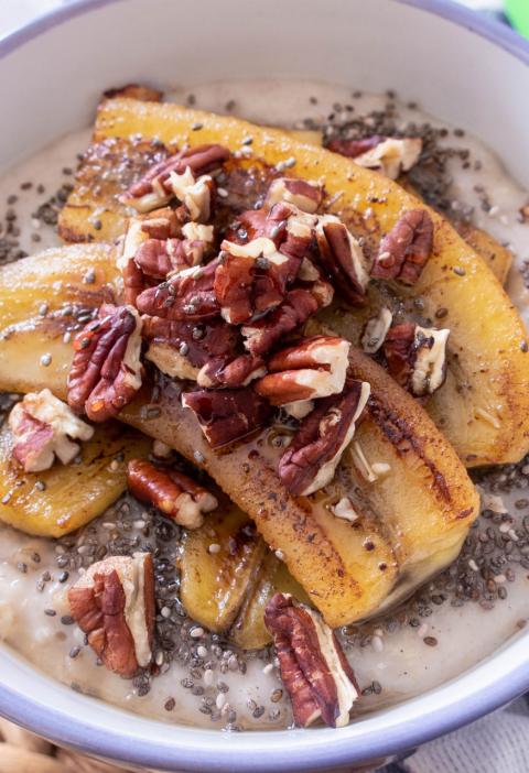 vegan banana chia seeds pecan oatmeal porridge