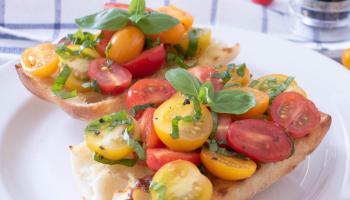 Italian cherry tomato bruschetta breakfast recipe