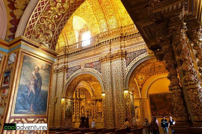 Interior of La Iglesia de la Compañía de Jesús, Quito, Ecuador