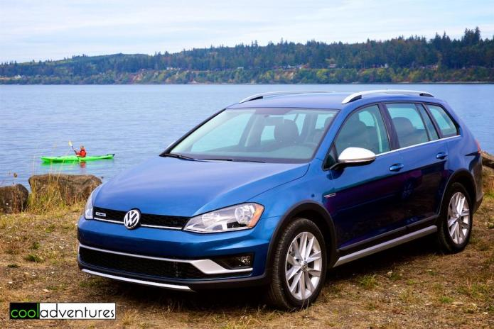 2017 Volkswagen Alltrack in blue at Port Gamble, Bainbridge Island
