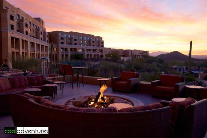 Sunrise on the terrace at Starr Pass Resort, Tucson, Arizona
