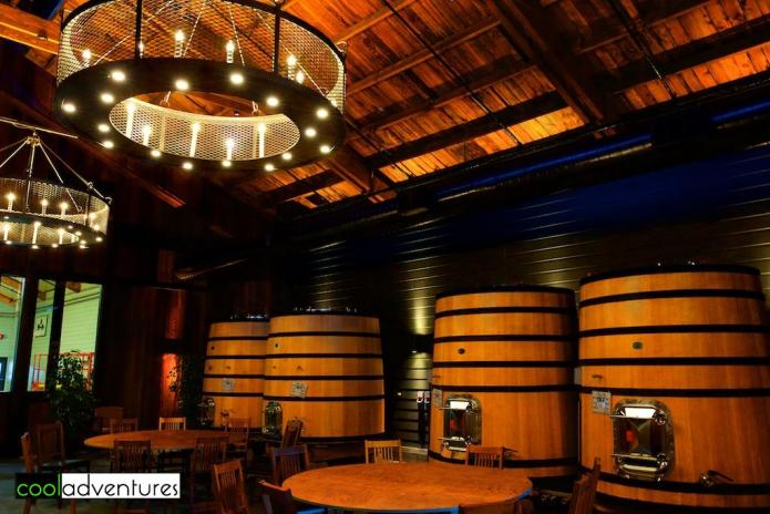 Beautiful Martin Ray barrel room serves as a stunning backdrop to parties and events Photo: Greg K. Hull © Chasing Light Media