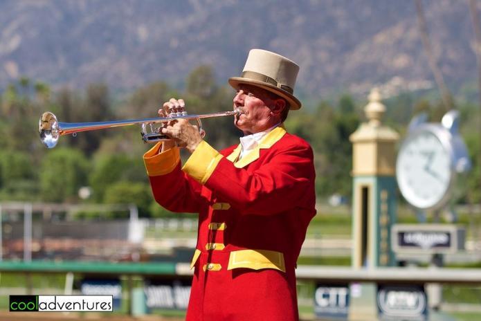Santa Anita Park bugler, Jay Cohen, Santa Anita Park, Arcadia, California