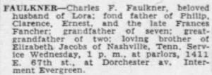 Charles F. Faulkner obituary, Chicago, Illinois, 11 Oct 1955