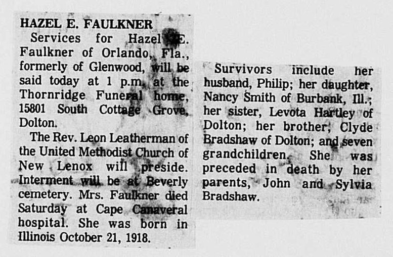 Hazel E. Faulkner, Chicago, Illinois, 11 Mar 1976