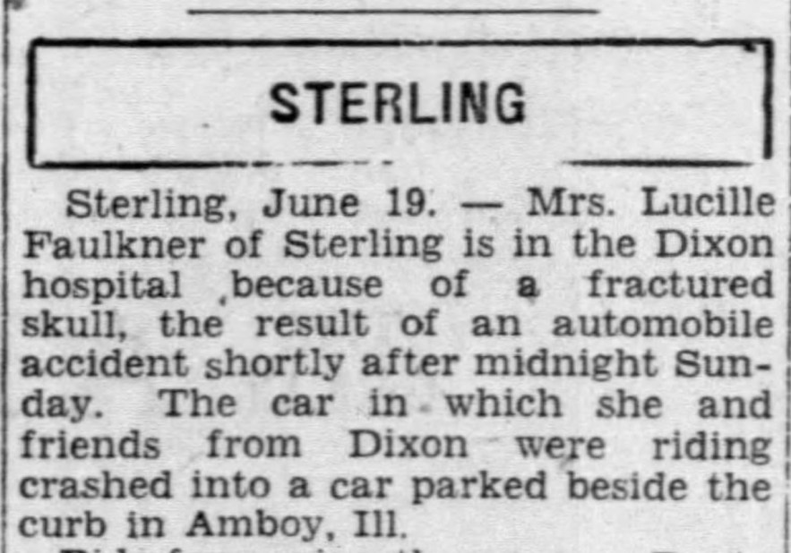 Lucille Faulkner Auto Accident, Moline, Illinois, 19 Jun 1930