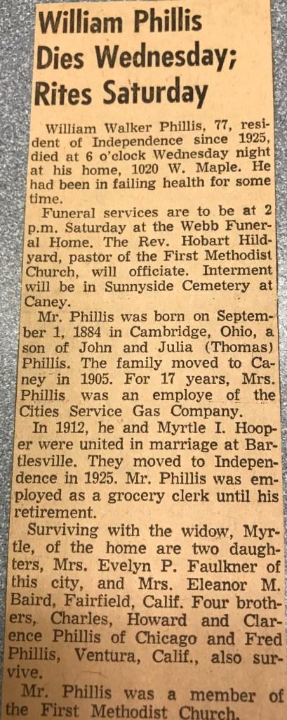 William Walker Phillis obituary, Independence, Kansas, Feb 1962