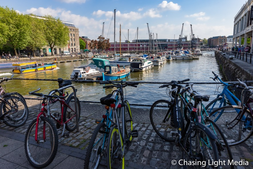 Bikes at the waterfront, Bristol, England