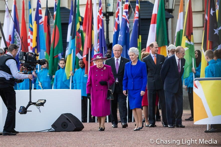 Queen Elizabeth & Prince Philip make their way to the stage, Com