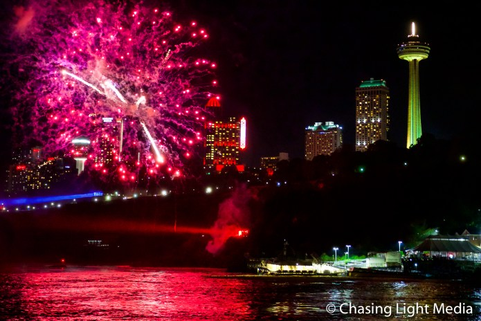Fireworks show over the Niagara River, Niagara Falls, Ontario