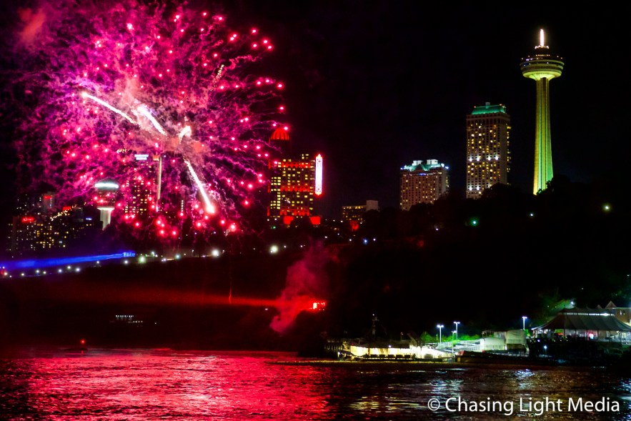 Fireworks show over the Niagara River, Niagara Falls, Ontario, C