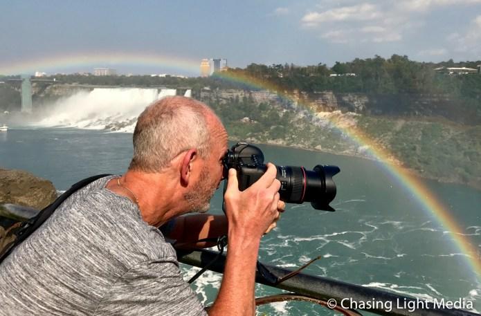 Greg Hull shooting under the rainbow at Niagara Falls, Canada