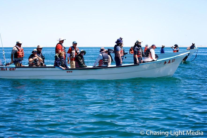 Panga loaded with Searcher passengers, San Ignacio