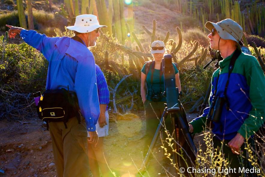 Naturalist Paul Jones leads a group tour on Isla Santa Catalina