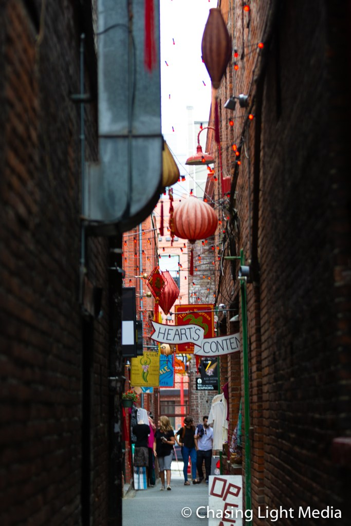 Narrow street in Chinatown, Victoria, BC
