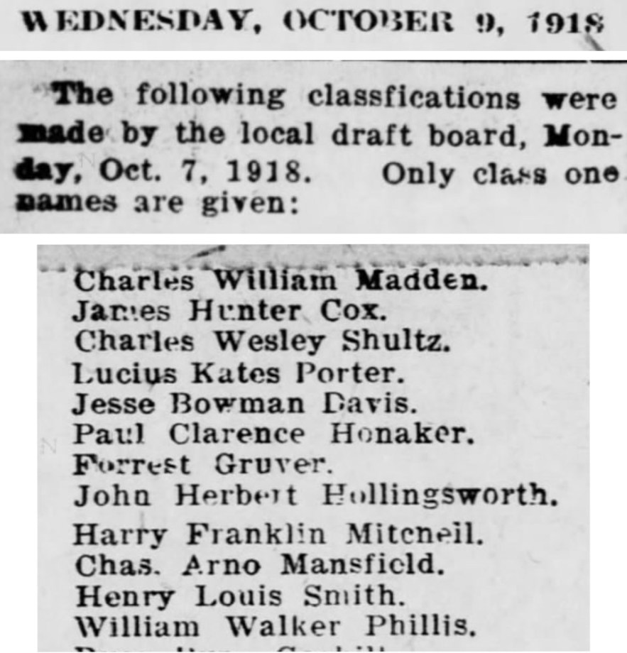 """Draft Board Classifications, William Walker Phillis,"" newspaper notice, The Evening Star (Independence, Kansas), 10 Oct 1918, p. 8, col. 4."
