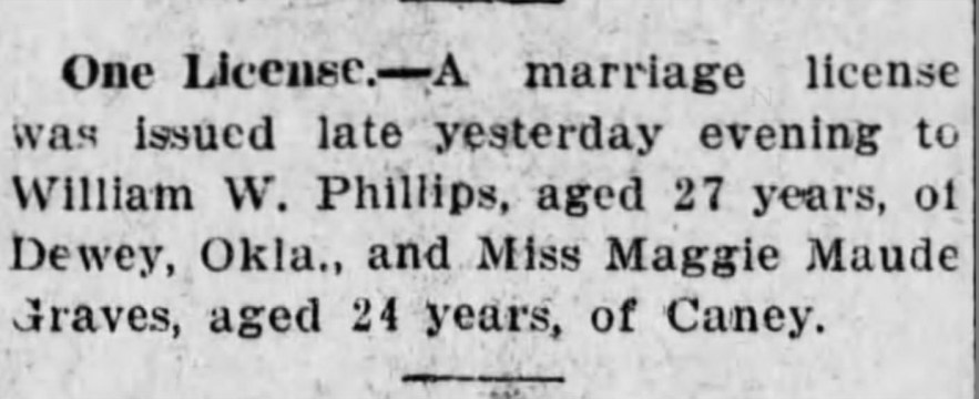 """Phillis-Graves Marriage License,"" news article, Independence (Kansas) Daily Reporter, 13 Jul 1911, p. 5, col. 3."