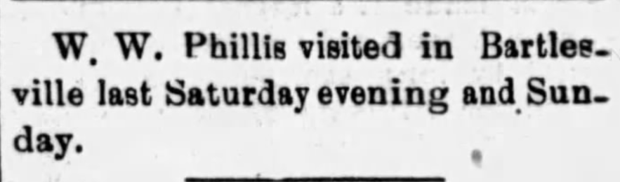 """W. W. Phillis in Bartlesville,"" news article, The Caney News (Caney, Kansas), 3 Oct 1913, p. 5, col. 6."