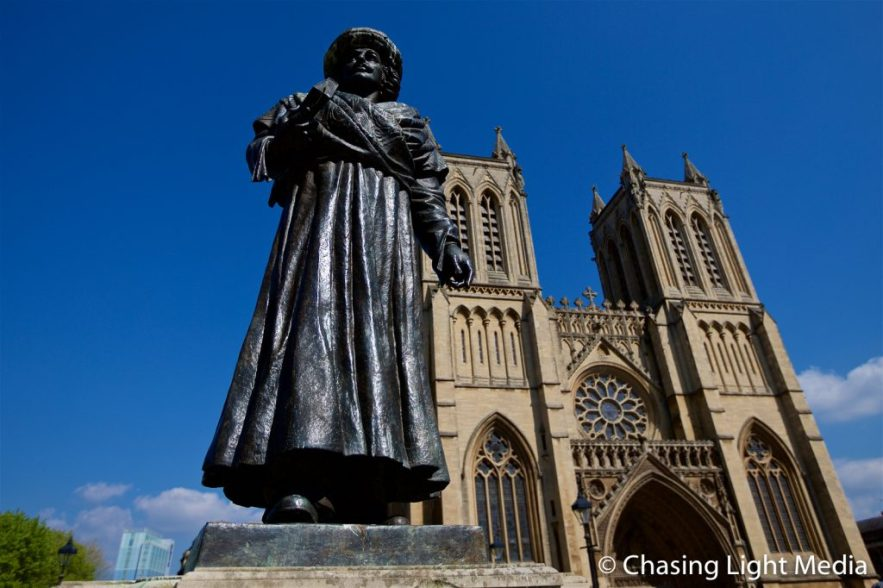 Rajah Rammohun Roy statue with Bristol Cathedral