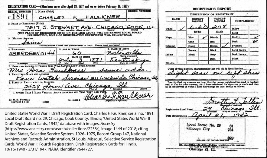 United States World War II Draft Registration Card, Charles F. Faulkner, serial no. 1891, Local Draft Board no. 29, Chicago, Cook County, Illinois