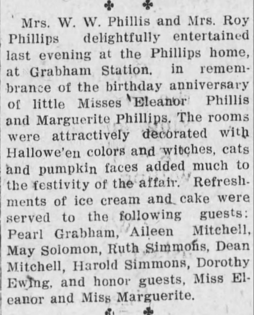 """""""Eleanor Phillis' 9th Birthday Party,"""" news article, Independence Daily Reporter (Independence, Kansas), 21 Oct 1922, p. 3, col. 3."""