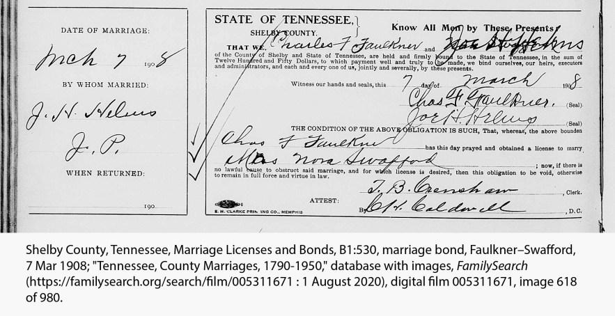 Faulkner, Charles Fountain-Lora Swafford marriage bond, 1908