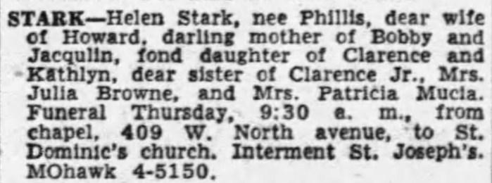 """Helen Phillis Stark,"" obituary, Chicago Tribune (Chicago, Illinois), 17 Jun 1954, p. 79, col. 7."