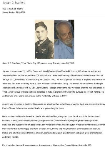 """Joseph O. Swafford,"" obituary, Hixson-Klein Funeral Home website (Smithville, Missouri), 20 June 2017."
