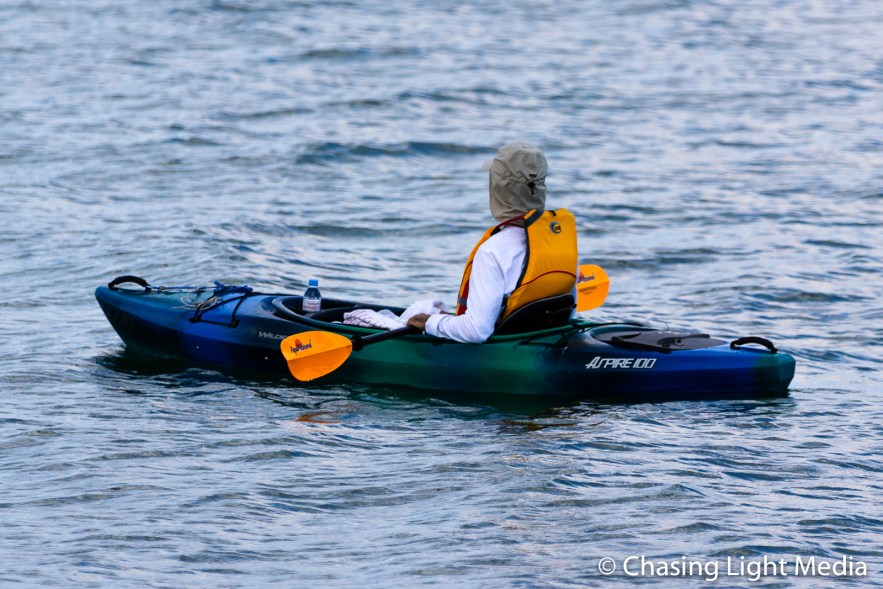 Kayaker waiting for arrival of the Mayflower II