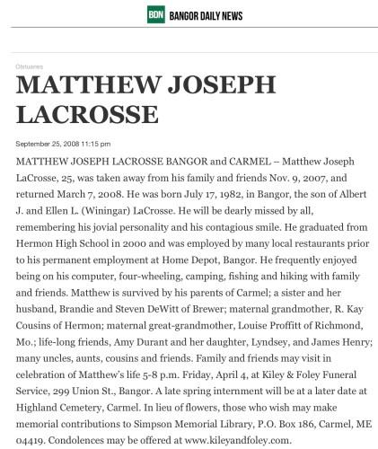 """Matthew Joseph Lacrosse,"" obituary, Bangor Daily News online edition (Bangor, Maine), 7 Mar 2008."