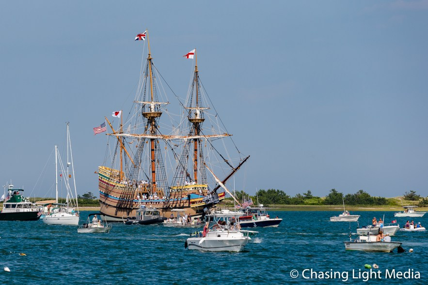 Mayflower II escorted by excited boaters, Plymouth, Massachusetts