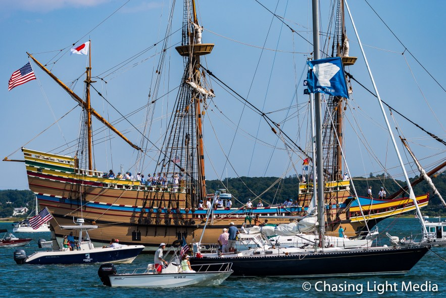 Crew lines the deck as Mayflower II approaches Plymouth