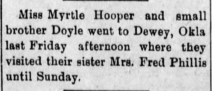 """""""Myrtle and Doyle Hooper Visit Mrs. Fred Phillis,"""" news article, The Caney News (Caney, Kansas), 14 Jun 1912, p. 4, col. 3."""