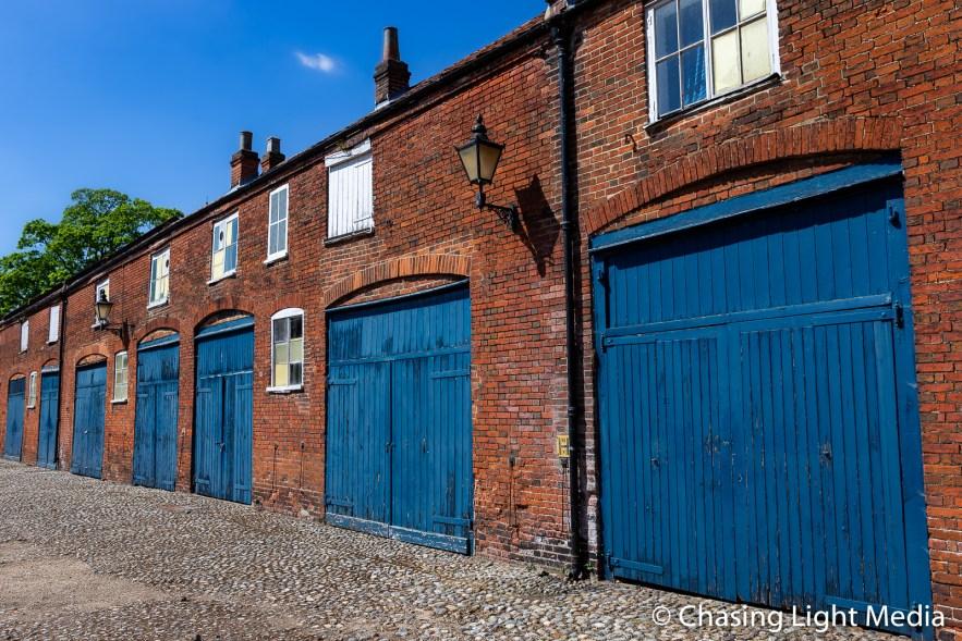 Blue-doored garages, Norwich, England