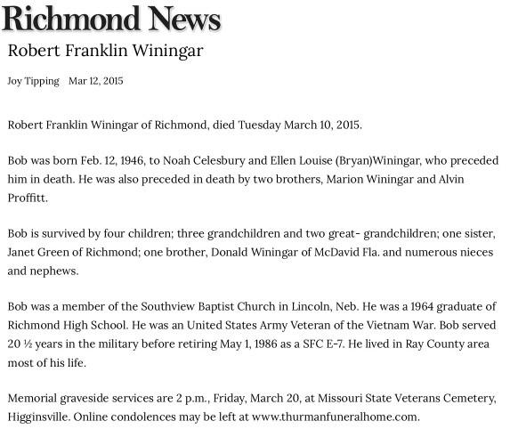 """Robert Franklin Winingar,"" obituary, Richmond Daily News online edition (Richmond, Missouri), 12 Mar 2015."