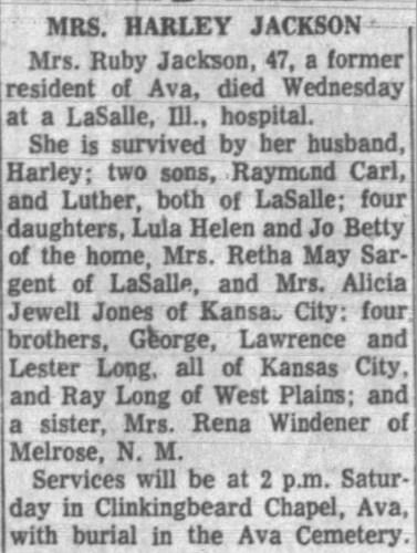 """Mrs. Harley Jackson,"" obituary, Springfield Leader and Press (Springfield, Missouri), 18 Jul 1958, p. 11, col. 5."