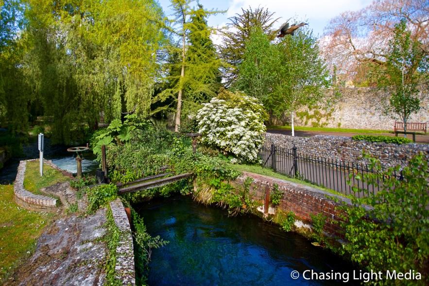 Riverside walk along River Itchen, Winchester, England