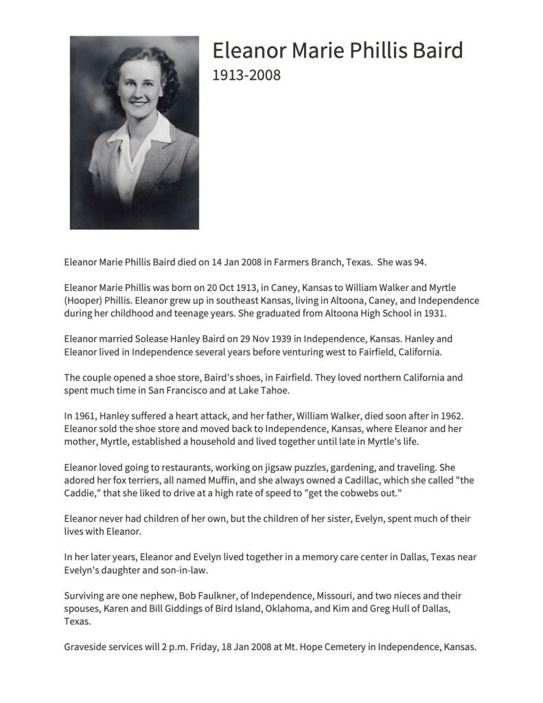 """""""Eleanor Marie Phillis Baird,"""" obituary, 25 Sept 2018.; Faulkner-Hull Family Papers, privately held by Kimberli Faulkner Hull, Plymouth, Massachusetts."""