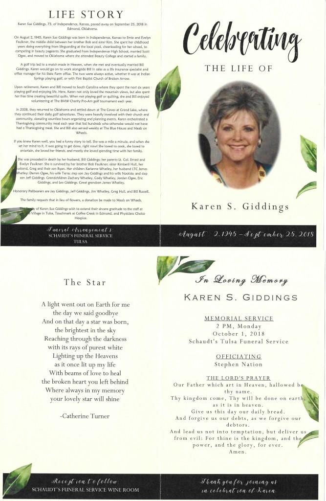 Karen S. Giddings funeral services card, Schaudt's Funeral Service, Tulsa, Oklahoma, services 1 Oct 2018; Faulkner-Hull Family Papers, privately held by Kimberli Faulkner Hull, Plymouth, Massachusetts.