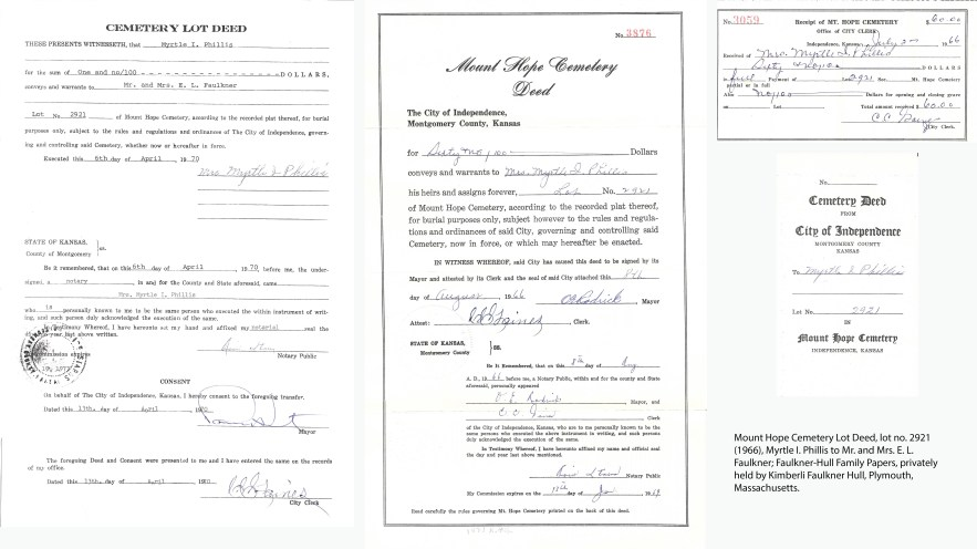 Mount Hope Cemetery Lot Deed, lot no. 2921 (1966), Myrtle I. Phillis to Mr. and Mrs. E. L. Faulkner